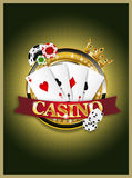 Casino banner. With play cards Stock Image