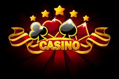 Casino banner with playing cards symbols and red ribbon. Vector icons on separate layers. Casino banner with playing cards symbols and red awards ribbon. Vector royalty free illustration