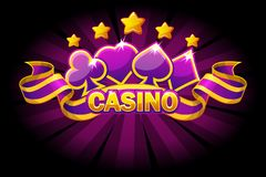 Casino banner with playing cards symbols and violet ribbon. Vector icons on separate layers. Casino banner with playing cards symbols and violet awards ribbon royalty free illustration