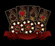 Casino banner with poker cards and chips Stock Images