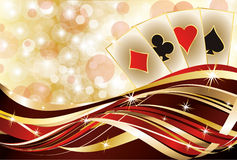 Casino banner and poker cards Royalty Free Stock Images