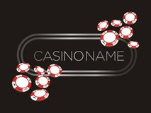 Casino banner, poster, backdrop with poker chips Royalty Free Stock Images