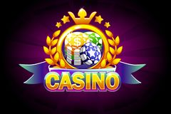 Casino banner with ribbon, icon and text. Vector illustration for casino, slots, roulette and game UI. Isolated on a separate layers stock illustration