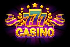 Casino banner with 777 and ribbon on purple background. Vector icons on separate layers. Casino banner with 777 and ribbon on purple background. Vector Objects stock illustration