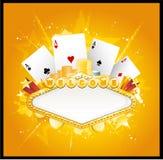Casino banner sign. Gold casino sign, vector illustration Royalty Free Stock Photos