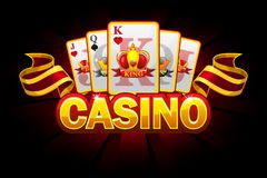 Casino banner with Suit of playing cards and ribbon. Vector icons on separate layers. Casino banner with Suit of playing cards and ribbon on red background stock illustration