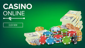 Casino Banner Vector. Online Poker Gambling Casino Banner Sign. Bright Chips, Dollar Coins, Banknotes. Winner Lucky. Symbol. Jackpot Casino Billboard Stock Photos