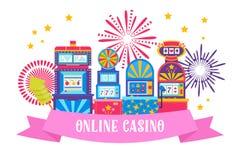 Casino banner web design vector illustration. Win jackpot in game slot machine. Gaming machine, fortune wheel and game. Casino banner web design vector vector illustration