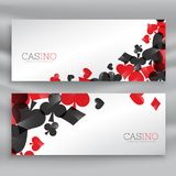 Casino banners with playing cards symbols. Vector Stock Photography