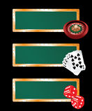 Casino banners set. Three casino banners - with roulette, cards and bones Stock Images