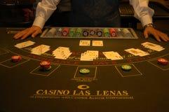 Casino. Black Jack, croupier dealing Royalty Free Stock Image