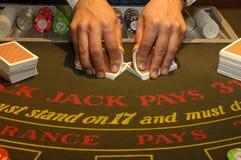 Casino. Black Jack, croupier dealing Royalty Free Stock Images