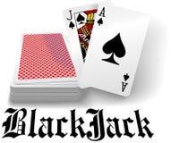 Casino black jack playing card deck. Black jack hand in spades as casino gambling playing card game stock illustration