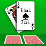 Casino Black Jack Table playing cards. Black Jack Ace Spades hand dealer card backs face down on casino game table vector illustration