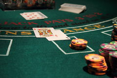 Casino Blackjack. Blackjack game, staged to appear as though shot in a real casino royalty free stock photo
