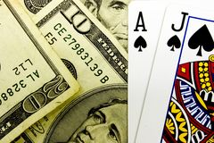 Casino Blackjack Poker Cards and Money stock image