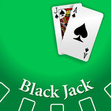 Casino BlackJack Table playing cards. Black Jack and Ace of Spades playing cards on Blackjack game table copy-space Stock Photography