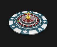 Casino blue chip and roullette, isolated black 3d Illustration Stock Images