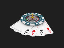 Casino blue chip and roullette on the play card, isolated black 3d Illustration Stock Photography