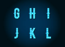 Casino or Broadway Signs style Blue light bulb. Alphabet Letter Character in Vector Set Royalty Free Stock Images