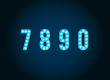 Casino or Broadway Signs style Blue light bulb Numbers Stock Image