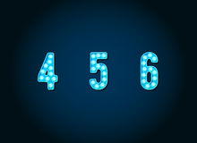 Casino or Broadway Signs style Blue light bulb Numbers Royalty Free Stock Photo