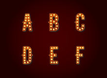 Casino or Broadway Signs style light bulb Alphabet Letter Charac Stock Images