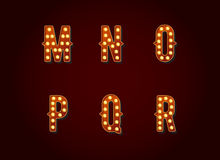 Casino or Broadway Signs style light bulb Alphabet Letter Charac Royalty Free Stock Photography