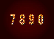 Casino or Broadway Signs style light bulb Digits Numbers Charact Stock Photos