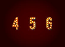 Casino or Broadway Signs style light bulb Digits Numbers Charact Royalty Free Stock Photos