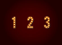 Casino or Broadway Signs style light bulb Digits Numbers Charact Royalty Free Stock Photography