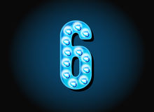 Casino or Broadway Signs style light bulb Digits Numbers Royalty Free Stock Photos