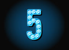 Casino or Broadway Signs style light bulb Digits Numbers Stock Photos