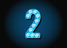 Casino or Broadway Signs style light bulb Digits Numbers Stock Image