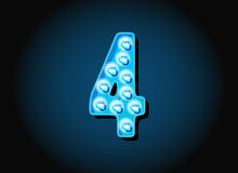 Casino or Broadway Signs style light bulb Digits Numbers Stock Images