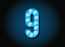 Casino or Broadway Signs style light bulb Digits Numbers Royalty Free Stock Images