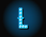 Casino or Broadway Signs style neon light bulb Alphabet Letter Royalty Free Stock Photography