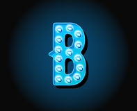 Casino or Broadway Signs style neon light bulb Alphabet Letter. Character in Vector Stock Photography