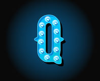 Casino or Broadway Signs style neon light bulb Alphabet Letter. Character in Vector Royalty Free Stock Images