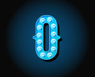 Casino or Broadway Signs style neon light bulb Alphabet Letter Stock Photography