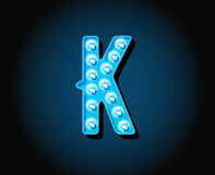 Casino or Broadway Signs style neon light bulb Alphabet Letter. Character in Vector vector illustration