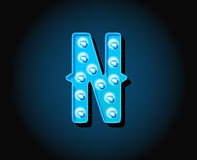 Casino or Broadway Signs style neon light bulb Alphabet. Letter Character in Vector royalty free illustration