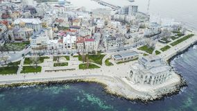 Casino Building , Constanta, Romania, aerial view. Landmark building for the City of Constanta, Romania, the abandoned Casino Building on the Black Sea shore Stock Photos