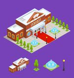 Casino Building and Part Isometric View. Vector Stock Images