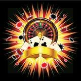 Casino burst. Roulette wheel, chips and cards on bursting background stock illustration