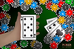 Casino card. card on hand. winnings chips. Illustration to use for printing, website, smart phone, wallpaper, decoration, decorations etc Royalty Free Stock Photo