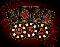 Casino card with poker elements Stock Images