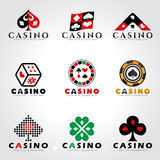 Casino and card poker logo sign vector set design Royalty Free Stock Photography