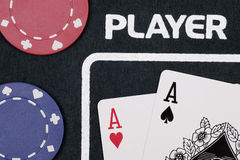 Casino Cards. Player - Casino Cards And Chips On Table stock images