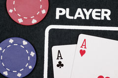 Casino Cards. Player - Casino Cards And Chips On Table royalty free stock image
